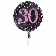 Round 30th Birthday Pink Celebration Standard Holographic Foil Balloon 45cm