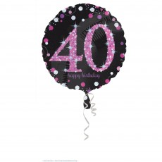 Round 40th Birthday Pink Celebration Standard Holographic Foil Balloon 45cm