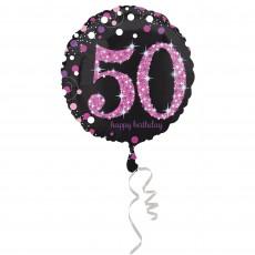 Round 50th Birthday Pink Celebration Standard Holographic Foil Balloon 45cm