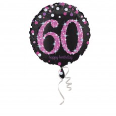 Round 60th Birthday Pink Celebration Standard Holographic Foil Balloon 45cm