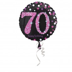 Round Pink 70th Birthday Pink Celebration Standard Holographic Foil Balloon 45cm