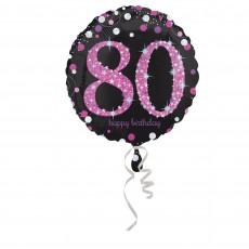 80th Birthday Pink Celebration Foil Balloon