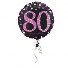 Round 80th Birthday Pink Celebration Standard Holographic Foil Balloon 45cm