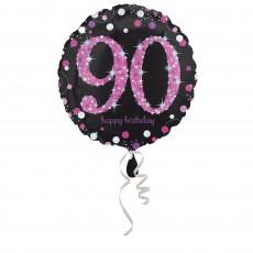 90th Birthday Pink Celebration Foil Balloon