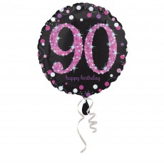 Round 90th Birthday Pink Celebration Standard Holographic Foil Balloon 45cm