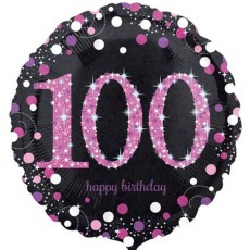 100th Birthday Pink Celebration Standard Holographic Foil Balloon