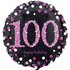Round 100th Birthday Pink Celebration Standard Holographic Foil Balloon 45cm
