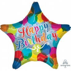 Happy Birthday Sparkle Balloons Standard Holographic Shaped Balloon