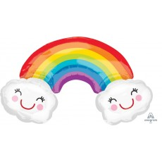 SuperShape XL Rainbow with Clouds Shaped Balloon 93cm x 55cm