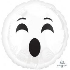 Emoji White Ghost Face # BOO Foil Balloon