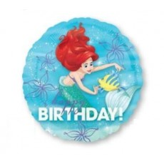Round The Little Mermaid Ariel Dream Big Standard HX Happy Birthday! Foil Balloon 45cm