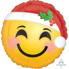 Christmas Standard HX Emoticon with Santa Hat Foil Balloon