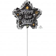 Mini Star Ruffle Happy New Year! Shaped Balloon