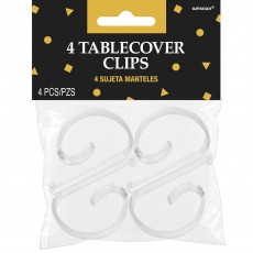 Clear Plastic Tablecloth Clips Pack of 4