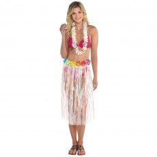 Hawaiian Luau Iridescent Plastic Skirt Adult Costume