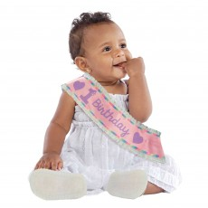 Girl's 1st Birthday Fabric Satin Sash Costume Accessorie