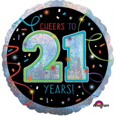 21st Birthday Multi Coloured Cheers To 21 Years Foil Balloon