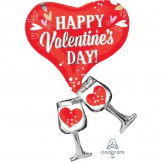 Valentine's Day SuperShape Cheers Glasses Shaped Balloon