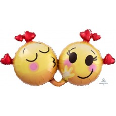 Emoji SuperShape XL Emoticons in Love Shaped Balloon