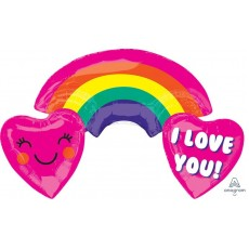 SuperShape ColorBlast XL Rainbow with Hearts I Love You! Shaped Balloon 93cm x 55cm