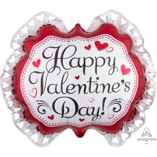 Valentine's Day SuperShape Marquee Heart Ruffle Shaped Balloon