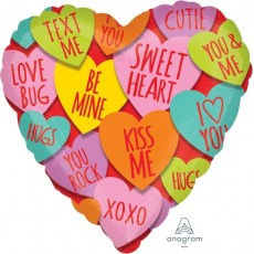 Love Standard HX Hearts with Messages Shaped Balloon