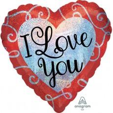 Heart Standard Sparkle Heart I Love You Shaped Balloon 45cm