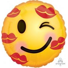 Round Emoji Standard HX Kisses Emoticon Foil Balloon 45cm