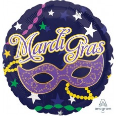 Round Mardi Gras Standard HX Mask Foil Balloon 45cm