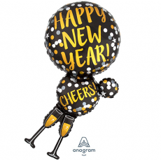 SuperShape Holographic Champagne Glasses Happy New Year! Cheers! Shaped Balloon 45cm x 91cm