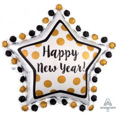 SuperShape Star Ring In The Happy New Year! Shaped Balloon 76cm