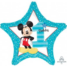 Star Mickey Mouse 1st Birthday Standard HX Shaped Balloon 45cm