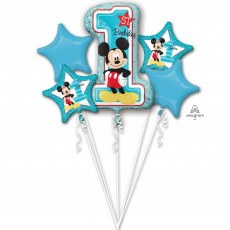 Mickey Mouse 1st Birthday Bouquet Foil Balloons Pack of 5