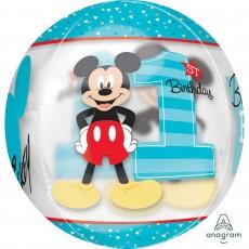 Orbz Mickey Mouse 1st Birthday Shaped Balloon 38cm x 40cm