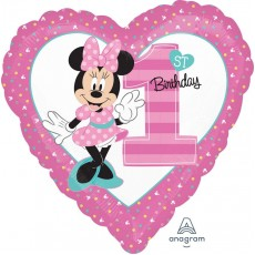 Heart Minnie Mouse 1st Birthday Standard HX Shaped Balloon 45cm