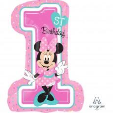 Minnie Mouse 1st Birthday SuperShape XL Shaped Balloon 48cm x 71cm