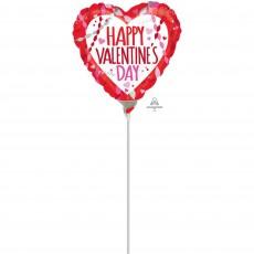 Heart Streamers & Confetti Happy Valentine's Day! Shaped Balloon 22cm