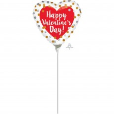 Valentine's Day Gold & Silver Dots Foil Balloon