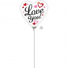 Love White with hearts Foil Balloon