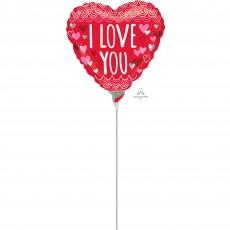 Heart Sketchy Scallops I Love You Shaped Balloon 10cm
