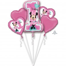 Minnie Mouse 1st Birthday Bouquet Foil Balloons Pack of 5