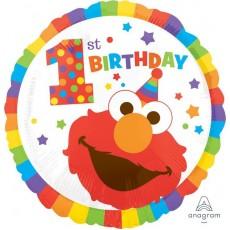 Round Elmo Turns One Sesame Street 1st Birthday Standard HX 1st Birthday Foil Balloon 45cm