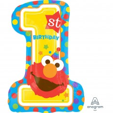 Elmo Turns One Sesame Street 1st Birthday SuperSHape XL 1st Birthday Shaped Balloon 48cm x 71cm