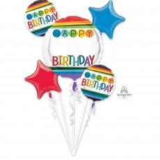 Rainbow Personalized Bouquet Happy Birthday Photo Props Pack of 5