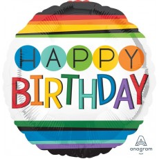 Round Standard HX Rainbow Happy Birthday Foil Balloon 45cm
