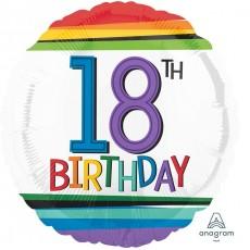 Round 18th Birthday Rainbow Birthday Standard HX Foil Balloon 45cm
