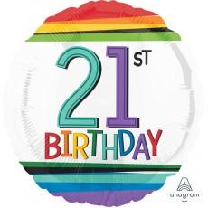 Round 21st Birthday Rainbow Birthday Standard HX Foil Balloon 45cm
