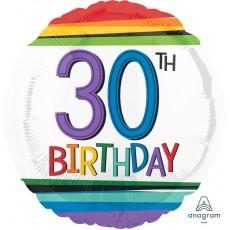Round 30th Birthday Rainbow Birthday Standard HX Foil Balloon 45cm