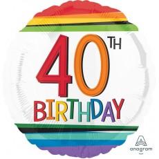 Round 40th Birthday Rainbow Birthday Standard HX Foil Balloon 45cm