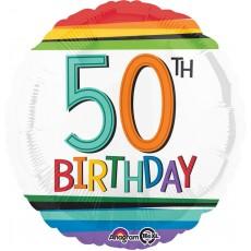 Round 50th Birthday Rainbow Standard HX Foil Balloon 45cm